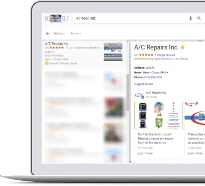 Google post on Google My Business listing